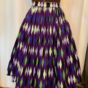 PUG Pinup Couture Purple Harlequin Jenny Skirt
